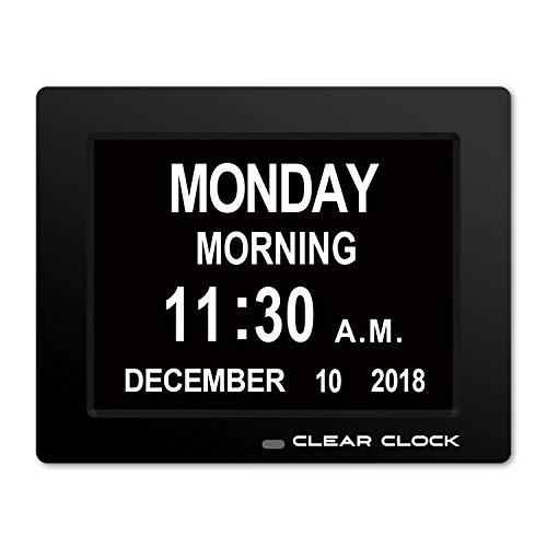 Clear Clock [Newest Version] Extra Large Digital Memory Loss Calendar Day Clock With Optional Day Cycle + Alarm Perfect For Elderly + Impaired Vision Dementia Clock - Time Clock Day