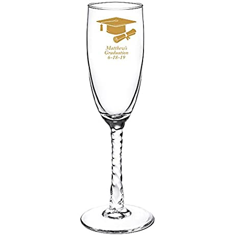 Personalized Color Printed Twisted Stem Champagne Flute We Re Engaged Gold 144 Pack