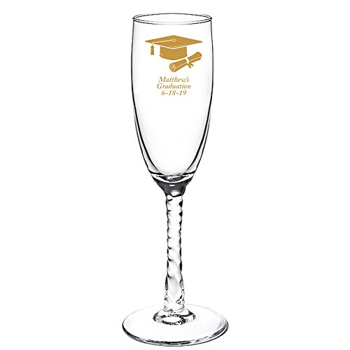 (Personalized Color Printed Twisted Stem Champagne Flute - Graduation Cap and Diploma - Gold - 12 pack)