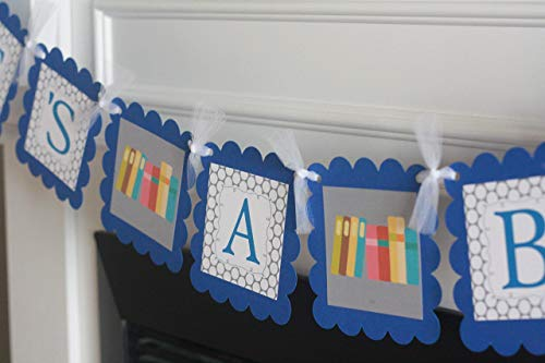 Baby Shower Royal Blue & Grey Polka Dot Book Story Time Library