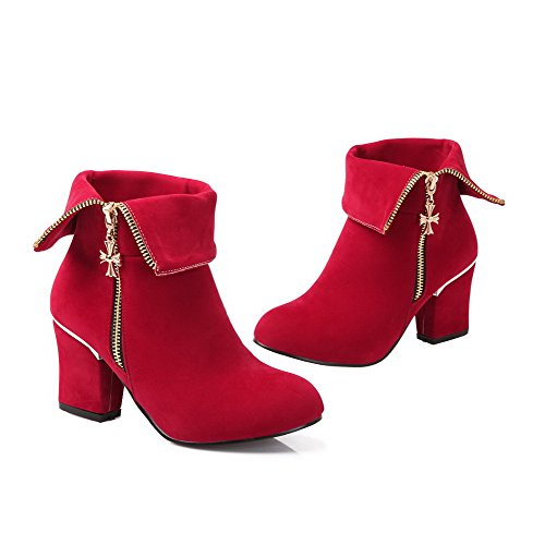 BalaMasa Womens Kitten Heels Mid Calf Solid Imitated Suede Knight Boots Red WN4pNs