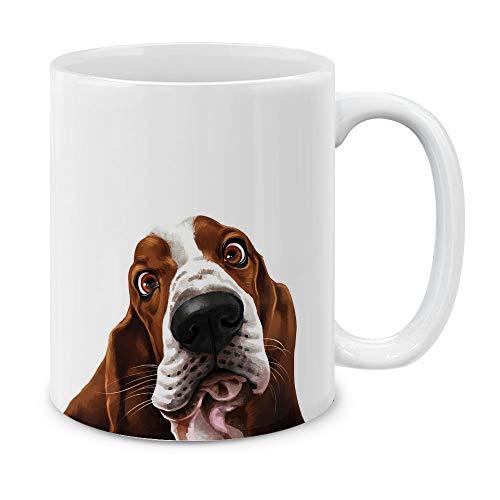 MUGBREW Cute Basset Hound Dog Full Portrait Ceramic Coffee Gift Mug Tea Cup, 11 OZ
