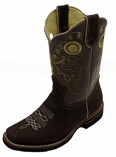Men cowboy Genuine Cowhide Leather square toe rodeo western BOOTS_Brown O2kMyqpY