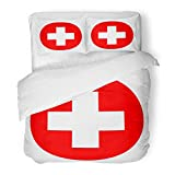 SanChic Duvet Cover Set Aid Medical Cross in Red Circle First Decorative Bedding Set with 2 Pillow Shams King Size