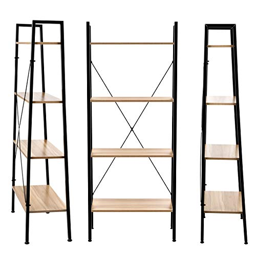 Homekoko Vintage Wood 5ft 4-Tier Ladder Shelf Bookcase Storage Rack Shelves Plant Stand in Living Room,Bedroom,Kitchen,Balcony