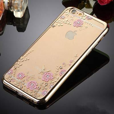 1 pieza para iPhone 6S 5S SE 6 Plus 7 Plus Capinha Para Chic Flora Bling Diamante Rhinestone Transparente Suave TPU Funda...