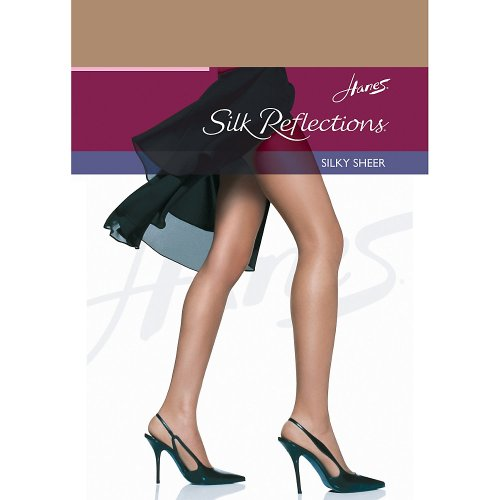 Nylon Sheer Pantyhose (Hanes womens Silk Reflections Reinforced Toe Pantyhose(00716)-Barely There-CD-3PK)