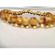 Healing Bracelet 8 inch arthritis carpal tunnel swelling headache Baltic Amber for Adults Polished Honey Stretch Boy Girl Unisex Man Woman Certified Authentic. Anti-inflammatory, Reduction in Inflamation Symptoms Such As Carpal Tunnel, Back Aches, Head Aches, Tooth Aches, Swelling, General Aches and Pains. Highest Quality Helps with soothing and insomnia, stress, and some reflux & eczema. Helps some with stress, anxiety, eczema, acid reflux, gut issues, and heartburn.