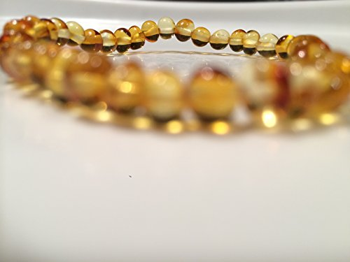 (Healing Bracelet 8 inch arthritis carpal tunnel swelling headache Baltic Amber for Adults Polished Honey Stretch Boy Girl Unisex Man Woman Certified Authentic. Anti-inflammatory, Reduction in Inflamation Symptoms Such As Carpal Tunnel, Back Aches, Head Aches, Tooth Aches, Swelling, General Aches and Pains. Highest Quality Helps with soothing and insomnia, stress, and some reflux & eczema. Helps some with stress, anxiety, eczema, acid reflux, gut issues, and heartburn.)