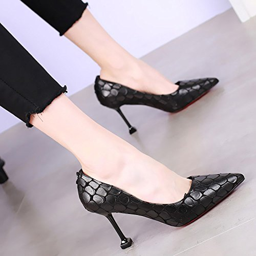 KHSKX-8Cm Pointed High-Heeled Shoes With A Fine Shallow Mouth Cat With Shoes The Korean Version Of The New Sexy Snake Black Shoes All-Match Thirty-nine 5zlle