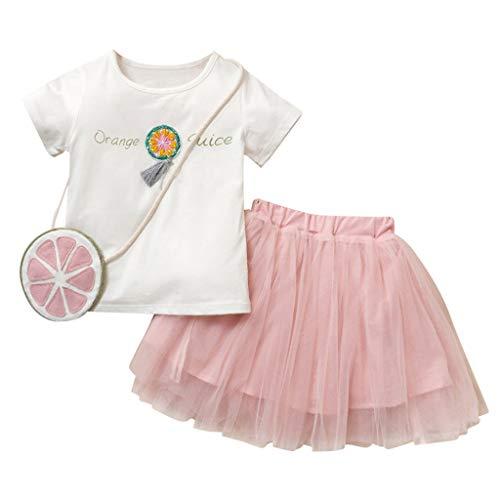 (2T-7T) Toddler Kids Baby Girls Clothes Set,Letter Print T-Shirt+Tassel Tulle Skirt+Bag residentD (5-6 Years, Pink) -