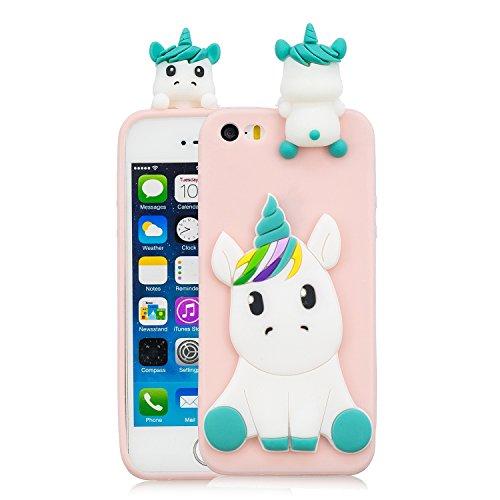 best service 81365 f6e10 DAMONDY iPhone 5S Case, iPhone 5, iPhone SE Case, iPhone SE Cute case, 3D  Cute Unicorn Cartoon Soft Gel Silicone Design Rubber Skin Thin Protective  ...