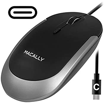 e62c02c31f1 Macally Silent USB Type C Mouse Wired for Apple Mac & Windows PC  Laptop/Desktop Computer   Slim & Compact Mice Design & Optical Sensor & DPI  Switch ...