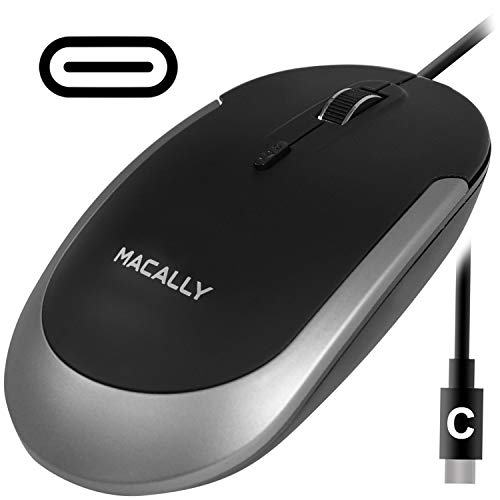 Macally Silent USB Type C Mouse Wired for Apple Mac & Windows PC Laptop/Desktop Computer | Slim & Compact Mice Design & Optical Sensor & DPI Switch 800/1200/1600/2400 | Small for Easy Travel (Black) (Best Laser Mouse 2019)
