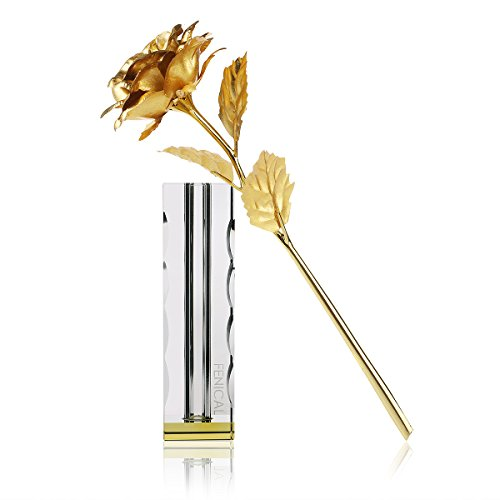 FENICAL 24K Golden Rose with Crystal-Clear Vase