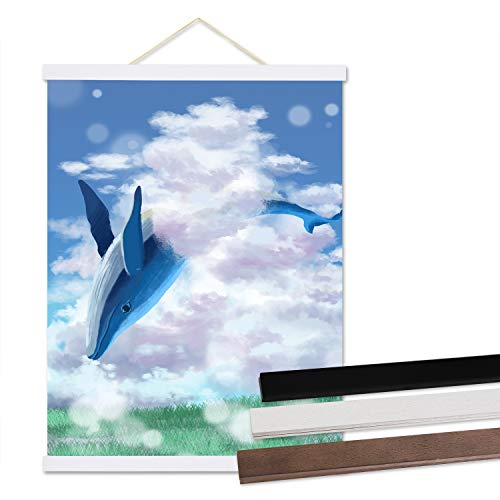 Trees&Forrest Magnetic Poster Frame for 22x28, 22x34 Canvas Artwork Light Wooden Frame Hanger for Wall Hanging (1 Pack, 22