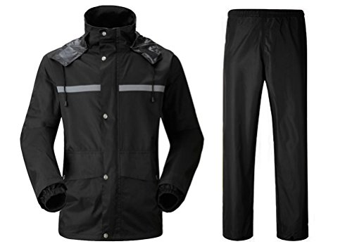 Nanxson Unisex 2 Pieces Raincoat Set of Jacket and Pant Rainwear WTM0052 (L, Black)