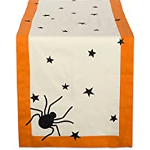 "DII 14x72"" Cotton Table Runner, Black stars - Perfect for Halloween, Dinner Parties and Scary Movie Nights"