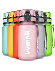 bumpli® SoftTouch Drinkfles voor kinderen, lekvrij en geschikt voor koolzuur, BPA-vrije kinderdrinkflessen met fruitinzet, perfect voor school, kleuterschool, sport, 350 ml