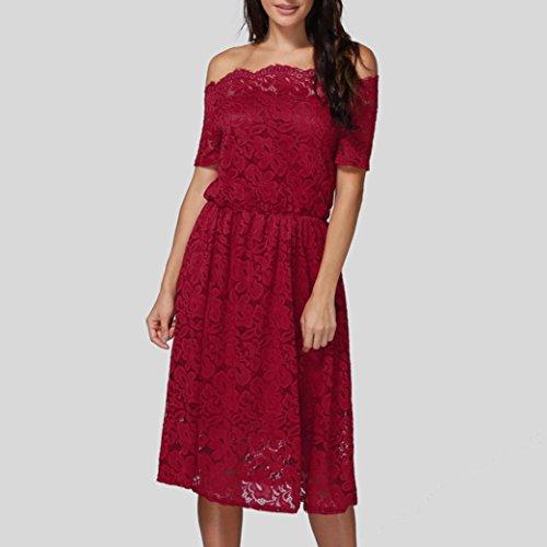 Rojo Vestido de del Partido Casual Mujer del Floral del Tarde Las Culater Cordón UqT7z