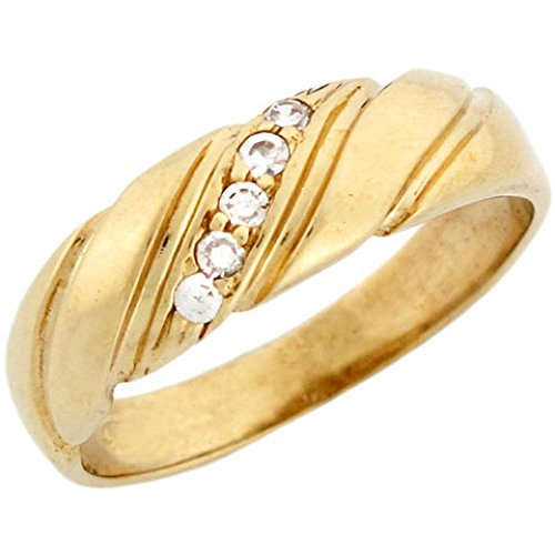 14k Yellow Gold Mens Diagonal Accent Pave CZ Ring with Engraved Accent