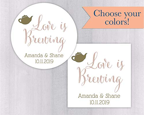 Love is Brewing Wedding Favor Stickers For Tea, Coffee or Other Drink Favors (#096-WH) Bridal Blend Coffee Wedding Favors