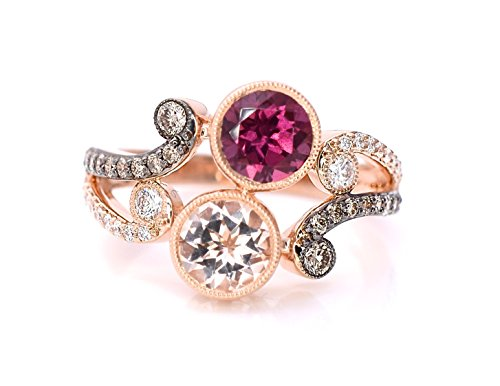LE VIAN Ring Peach Morganite Rhodolite Garnet Chocolate Diamonds Bypass Vintage 14K Rose Gold (Le Vian Chocolate Diamond And Garnet Ring)