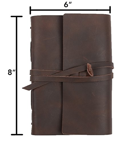 Leather Journal Lined Paper - Handmade Leather Bound Writing Notebook (6x8 in), Leather Journal for Men & Women, Poetry Journal, Lined Journal Notebooks & Journals to Write in for Women, Mens Journal