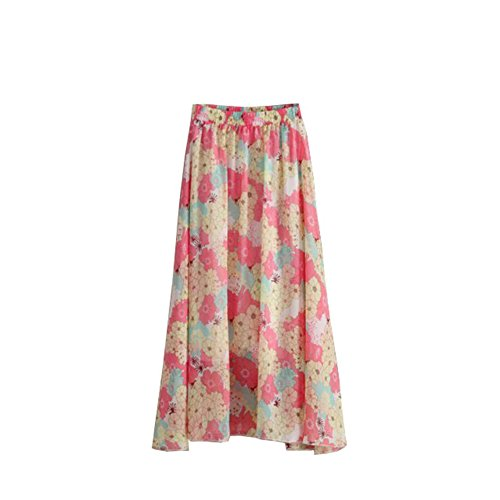 Long Longue Maxi Fleur Plage Bohmien Skirt fte lastique 2017 Jupe Oiseau Taille Femmes Rouge Beige Fleur Mode Kaxuyiiy t 6qwvpgOg