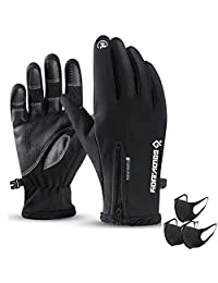 Cycling Gloves,Mesuyoku Winter Warm Gloves Screen Touch Recognition Gloves Water Resistant Windproof Cold Weather Sports Gloves for Man&Woman Outdoor Exercise,Skiing,Running,Cycling,Hiking etc. (Black, XL)