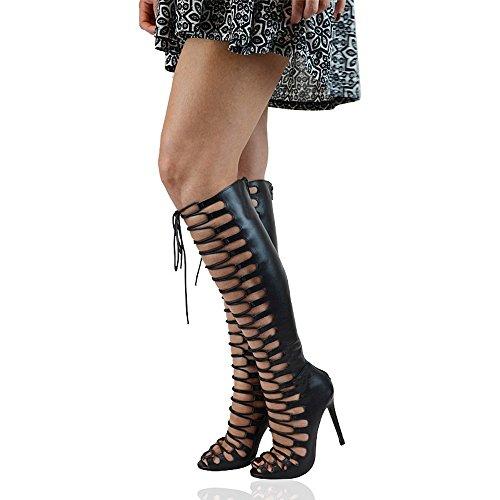 Essex Glam Womens Gladiator Stilettklackar Snörning Klippa Ut Peep Toe Knä Hög Tie Boots Svart Konstläder