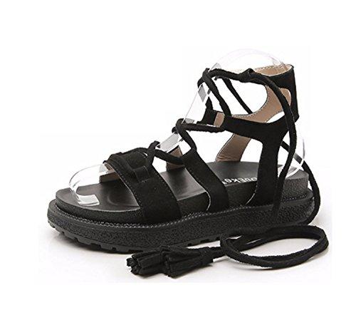 Black donna Comodi Grandi estive con Infradito da allentati Scarpe da Scarpe Girls sandali Ladies Pantofole piatte cinturino sandali spiaggia wqx85UxAg