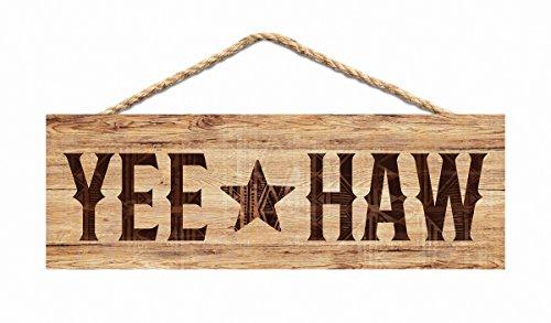 P. GRAHAM DUNN Yee Haw Star Tribal Natural 10 x 3.5 Inch Pine Wood Slat Hanging Wall Sign