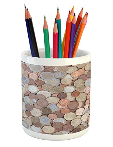 Ambesonne Money Pencil Pen Holder, Close Up Photo of Coins E