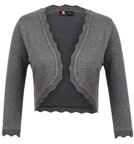 Womans Gray Knit Scalloped Cardigan for Dress - Gray Knit Dress