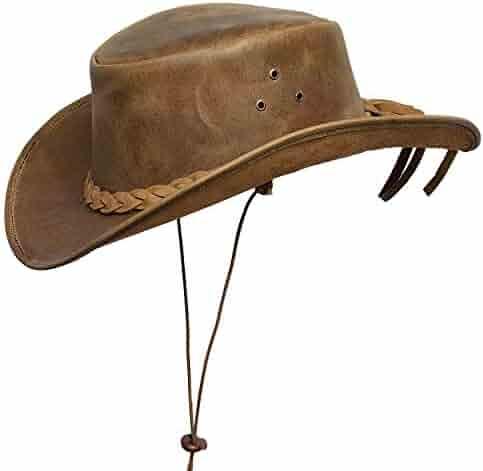 33ad5c73 Brandslock Mens Down Under Leather Cowboy Hat Aussie Bush Outback Tan