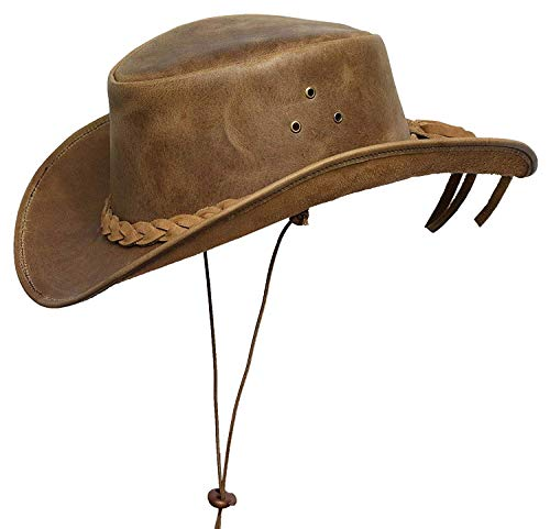 Brandslock Mens Down Under Leather Cowboy Hat Aussie Bush Outback Tan (S, Tan)