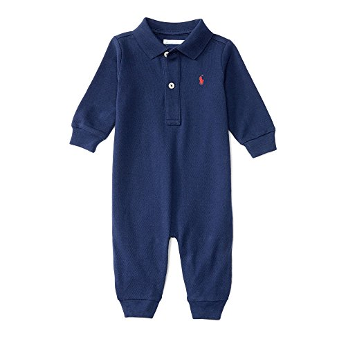 Ralph Lauren Baby Boys Cotton Mesh Polo L/S Coverall (3 Months, Newport - Stores Newport Clothing