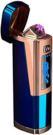 Dual Arc Lighter USB Rechargeable Electric Lighter Windproof Flameless X Plasma Lighter,6 arc Lighters Cigar Ignition with LED Battery Indicator,Indoors,Outdoors,Camping (6 arc, Blue)