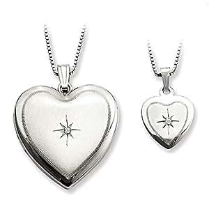 Plata de ley con forma de corazón satinado pulido y conjunto de colgante - JewelryWeb
