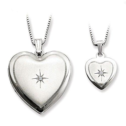 Sterling Silver Diamond Polished Satin Heart Locket and Pendant Set ()