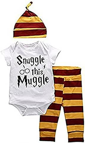 Newborn Baby Boys Girls Snuggle this Muggle Short Sleeve Bodysuit Shirt and Striped Pants Outfit with Hat