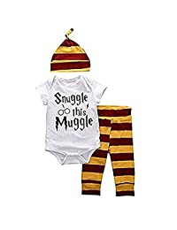Unisex Baby's 3 Piece/Set Short Sleeve Bodysuit Top and Pants Outfit with Hat