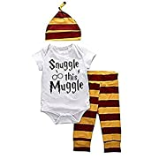 Baby Boys Girls Snuggle this Muggle Short Sleeve Bodysuit and Striped Pants Outfit with Hat (70 (0-6M), White+Yellow)