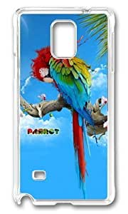 Adorable Beautiful parrot Hard Case Protective Shell Cell Phone Cover For Samsung Galaxy Note 4 - PC Transparent
