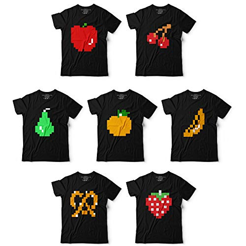 8bit Pac Fruit Video Game Matching Group Team Halloween Costume Customized Handmade T-Shirt Hoodie/Long Sleeve/Tank -