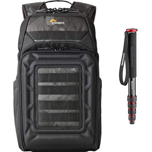 Lowepro DroneGuard BP 200 Backpack for DJI Mavic Pro/Air Quadcopter with Manfrotto Element 5-Section Red AL Monopod Kit by Lowepro