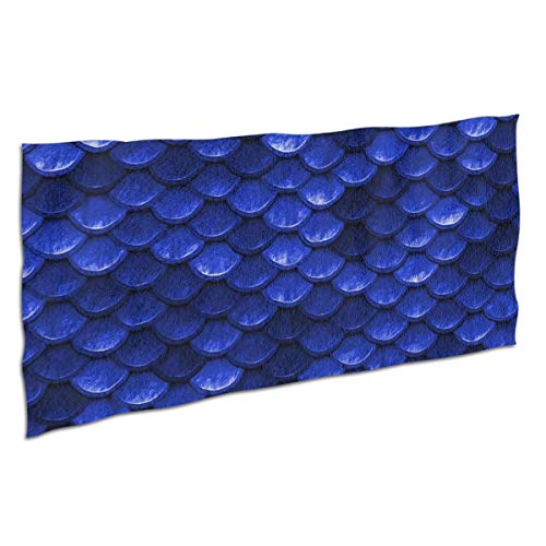 NiYoung Beach Towel Oversized Quick Dry Bath Pool Towel, Lightweight, Super Absorbent, Beautiful Cobalt Sea Blue Mermaid Fish Scales Beach Towel, 40