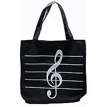 HUELE Music Symbols Print Canvas Tote Handbag Shoulder Shopping Bags(Black -High notes)