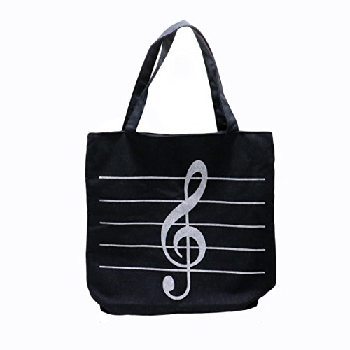 HUELE Music Symbols Print Canvas Tote Handbag Shoulder Shopp